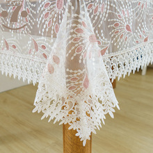 Home Decorative Modern Style Organza Pink Peacock Embroidered Tablecloth