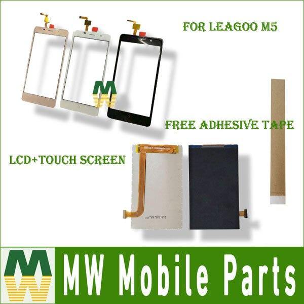 1 pc/lot 5.0 Pour Leagoo M5 Séparée Écran Tactile Et Lcd Écran Affichage Noir Blanc Or Couleur avec outils + bande