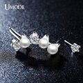 Umode 2015 сымитированная перла круглого сечения CZ белый позолоченные несоответствие тумаки уха серьги для женщин Oorbellen UE0181B