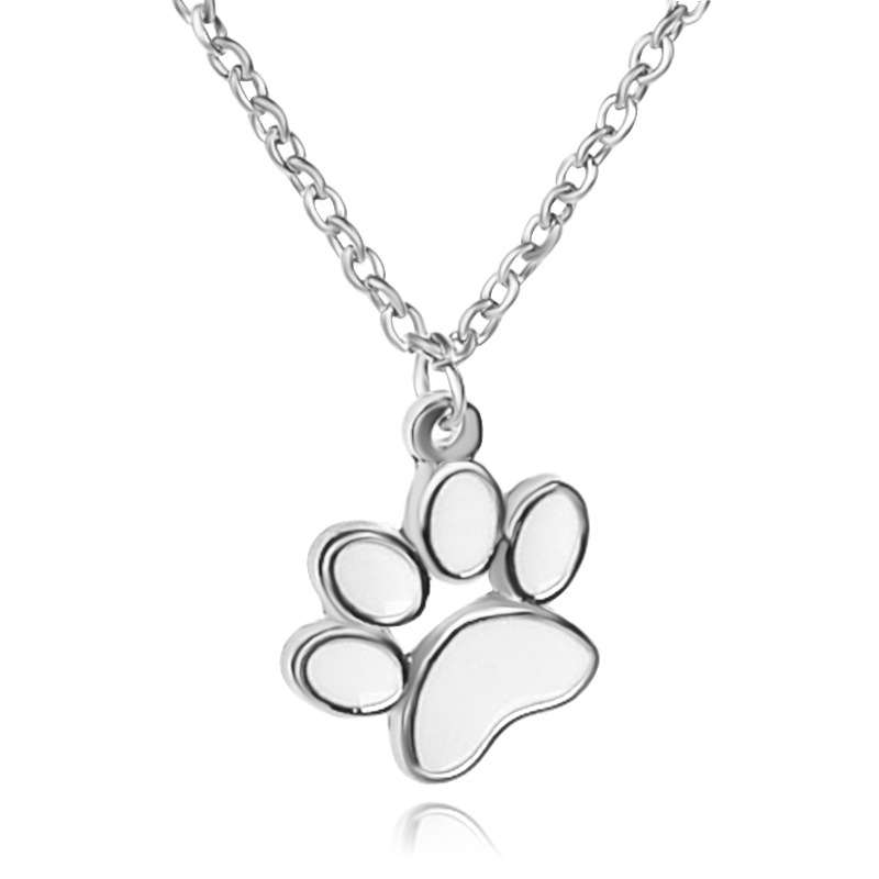 Cute Dog Paw Memorial Pendant Necklaces White Enamel Teen Wos