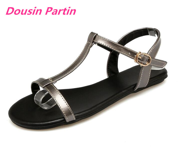 Dousin Partin Women Sandals Pu Leather All Match Fashion Women Shoes Buckle Westrn Style Flats Summer