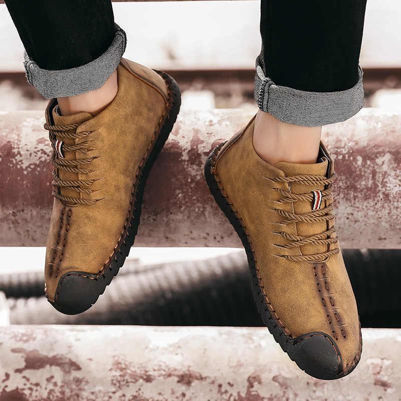 Модные мужские ботинки; высококачественные зимние ботильоны из спилка; теплая зимняя обувь на меху с плюшевой подкладкой на шнуровке; большие размеры 38-48
