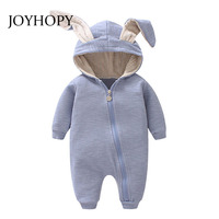 JOYHOPY 1pcs Baby Romper Children Kids Cute Rabbit Hooded Long Sleeve Jumpsuit Baby Product Cotton Newborn
