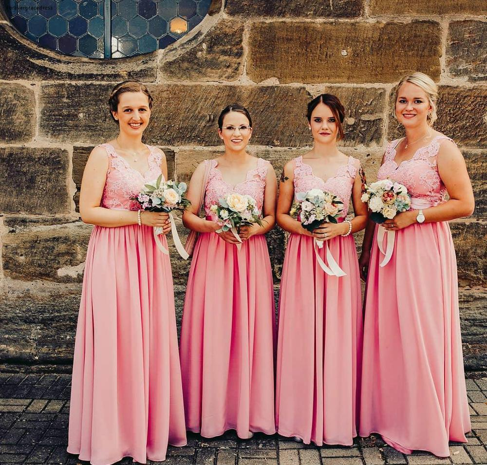 Cheap Pink Bridesmaid Dress Boho Beach Summer Country Garden Formal Wedding Party Guest Maid Of Honor Gown Plus Size Custom Made