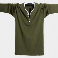 Autumn M 3XL 5xl 6xl Plus Size cotton Tee Top Male Hiphop Streetwear Long Sleeve Fitness Tshirts Men solid Male T shirts hip hop