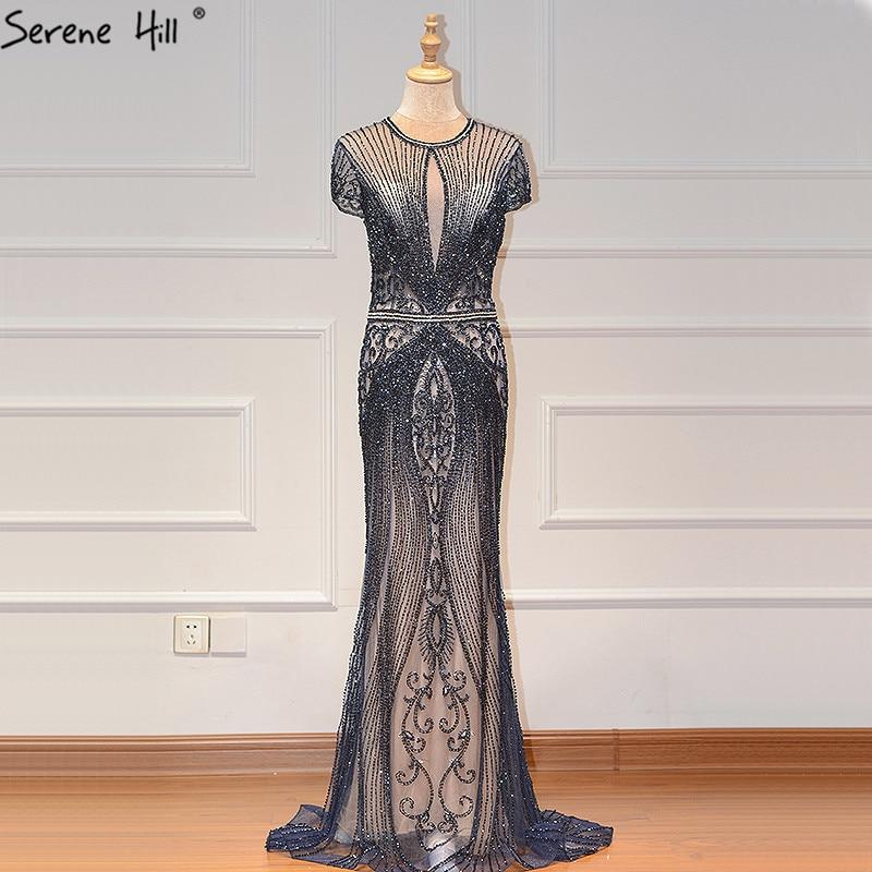 Дубай темно-синий цвет без рукавов элитное вечернее платье с круглым вырезом Diamond сексуальное вечернее платье Serene Hill LA60742 - Цвет: navy blue