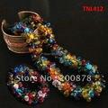 Tnl412 Nepal colorido cristal collar de perlas y braclet sistemas de la joyería, venta al por mayor Nepal Glass jewel