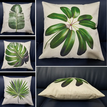 Sofa Decorative Cushion Cover Tropical Plant Leaf Pillow Pillowcase Cotton Linen 45x45cm Throw Pillow Home Decor Pillowcover цены