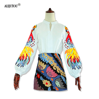 a8eb5fb698 Mulheres Retro Lanterna Manga Bordado Elegante Blusa de Algodão Novo 2019  Designer Moda Primavera Verão da marca Camisa Branca. Women Retro Lantern  Sleeve ...