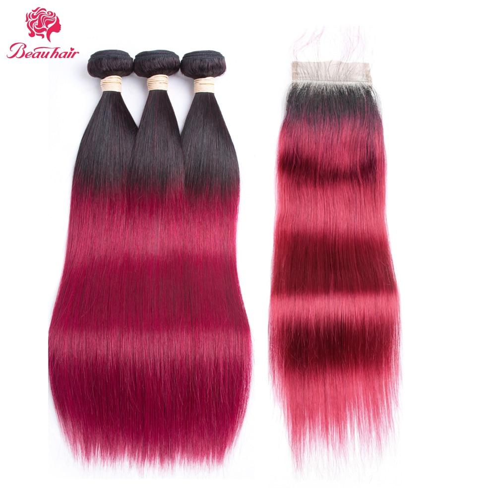Beau Hair Straight Ombre 3 Bundles with Closure T1B/Burg Human Hair Bundles With Closure Brazilian Hair Weavings Non-remy Hair