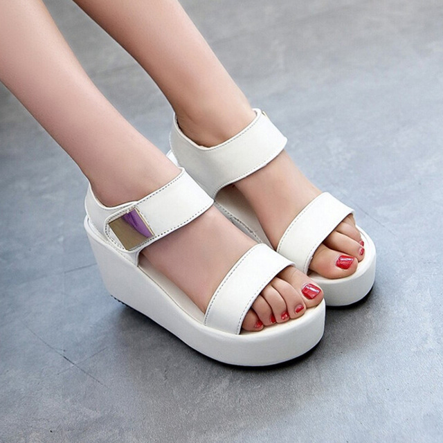 50cfef129 Hot Sale Women Wedges Sandals Fashion Casual Platform Sandals Metal Decor Summer  Shoes sandalias mujer sandalias