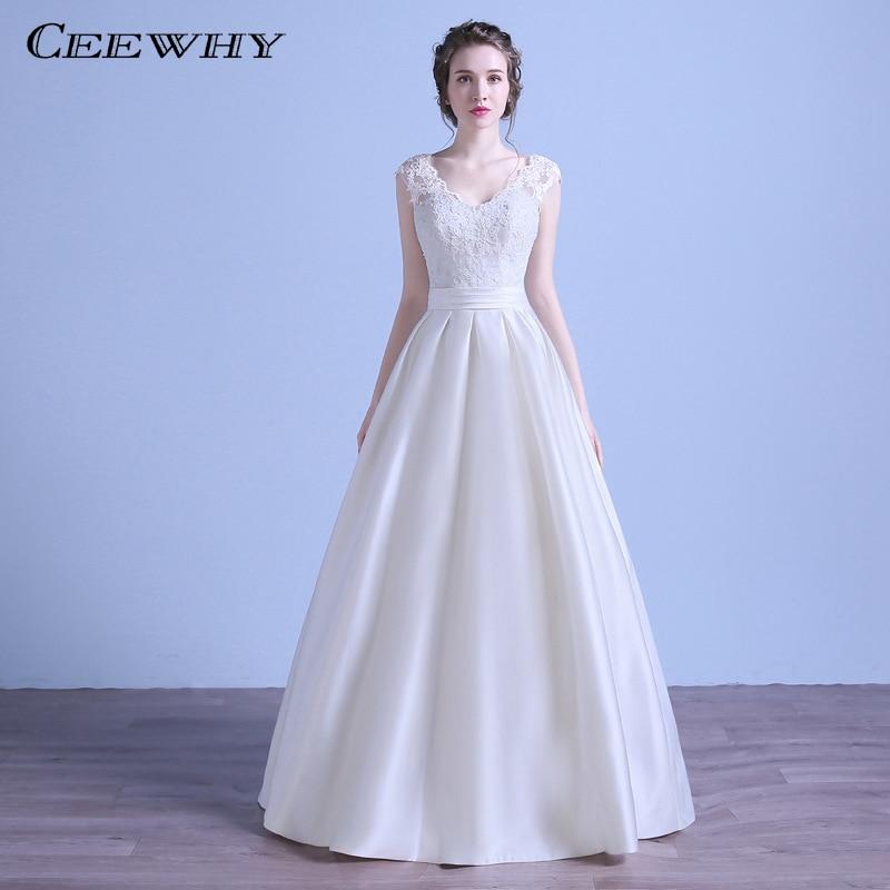 CEEWHY col en v dos ouvert dentelle Robe de mariée 2018 Robe de mariée Robe de mariée Robe de fête Vestido de Noiva Casamento