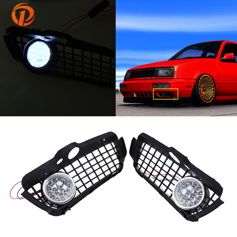 POSSBAY Car Fog Lights Front Lower Bumper Fog Light Grill Cover for 1993-1998 VW Golf/Jetta Models Only LED Running Light Lamp for opel astra h gtc 2005 15 h11 wiring harness sockets wire connector switch 2 fog lights drl front bumper 5d lens led lamp
