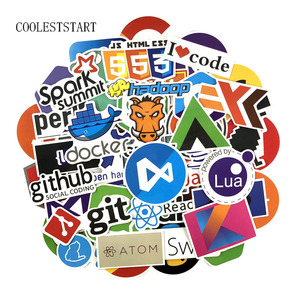 73Pcs/Lot Geek Docker Stickers Hacker CSS Programming Java Cool Stickers For Luggage Fridge Laptop Guitar Waterproof Stickers