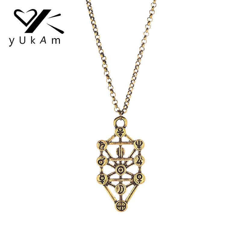 YUKAM เครื่องประดับโบราณทองพุทธ Kabbalah สร้อยคอ Healing เรขาคณิตโยคะจี้สร้อยคอสำหรับของขวัญสตรี