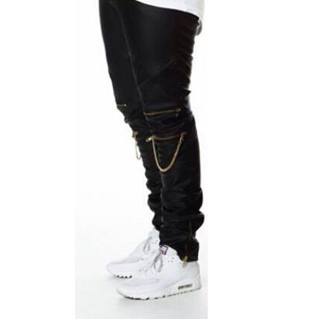Uomini Harem Pants 2017 Justin Bieber Pantaloni Jeans di Modo Degli Uomini  Joggers Cerniere Faux Leather 1b2891d66590
