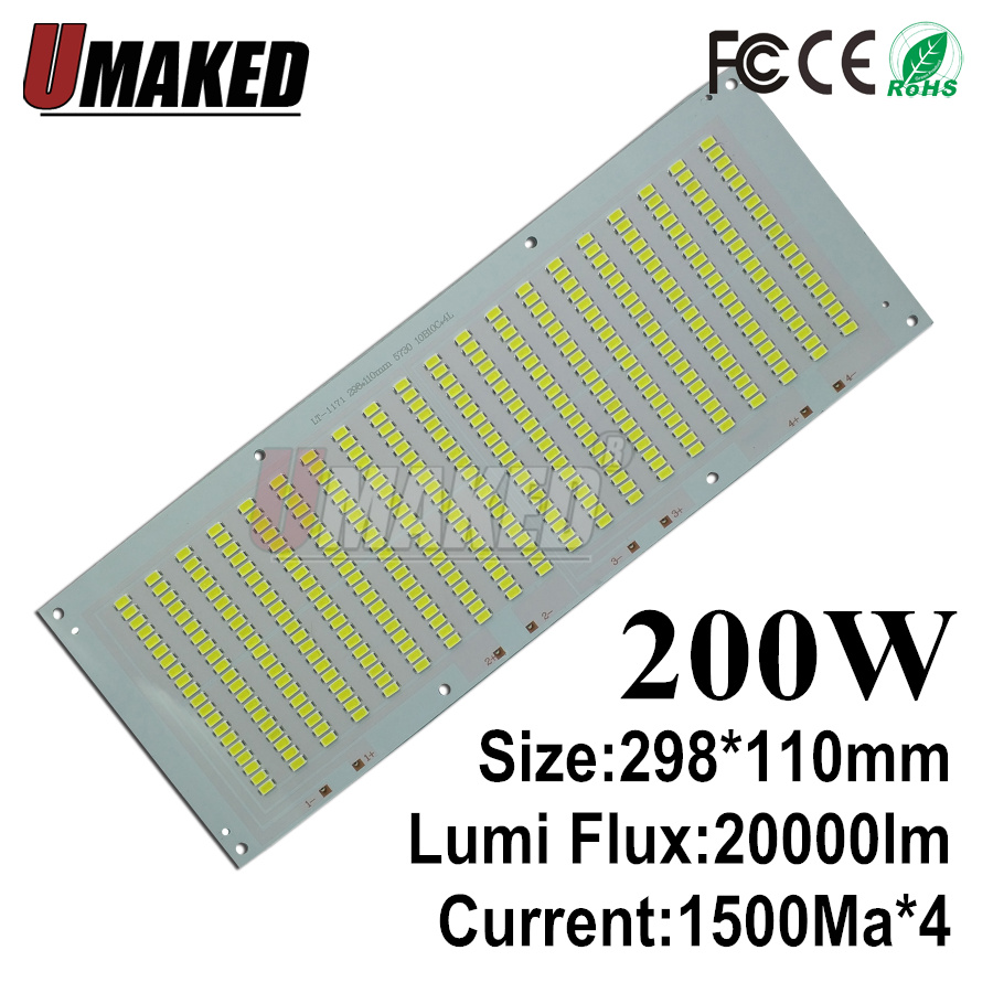 100% Full Power LED Holofote 200 W PCB SMD5730, 298x110mm led placa PCB, branco morno/branco iluminação sourcefor levou holofote - 2