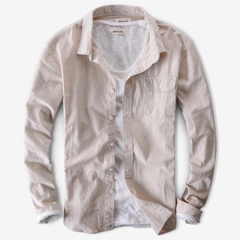 2017 Maglie A Manica Lunga Degli Uomini Della Camicia Di Lino E Cotone Business Casual Camicie Moda Uomo Marca Shirt Mens Solid Camisa Chemise