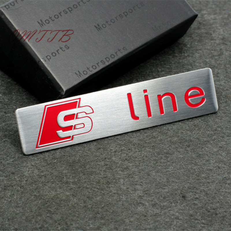 3D metal sline s line Emblem Decal car sticker For Audi A1 A3 A4 B6 B7 B8 A6 C5 A5 Q2 Q3 Q5 Q7 S3 S4 S5 S6 S7 R8 TT Car Styling