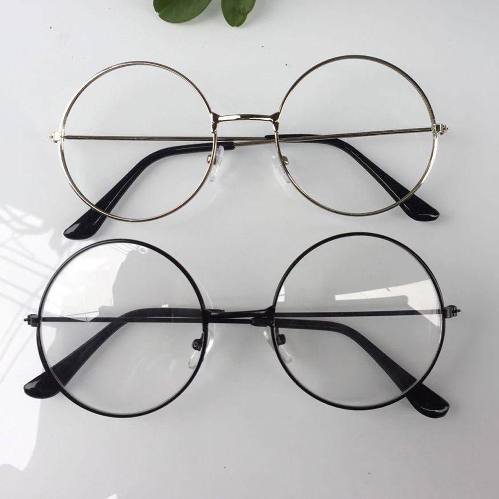 Новинка 2018 года мужские и женские Ретро Большой Круглый очки прозрачный металлическая оправа для очков черный, серебристый цвет золото очк...