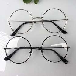 Новинка 2018 года мужские и женские Ретро Большой Круглый очки прозрачный металлическая оправа для очков черный, серебристый цвет золото