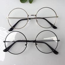9870ad384 2018 جديد رجل إمرأة ريترو نظارات دائرية كبيرة شفافة معدن إطار نظارات أسود  فضي الذهب نظارات نظارات 3 ألوان