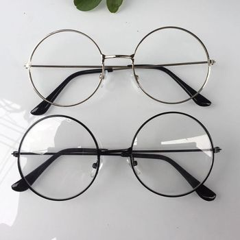 2018 New man Woman Retro Large Round Glasses Transparent Metal eyeglass frame Black Silver Gold spectacles Eyeglasses 3 Colors