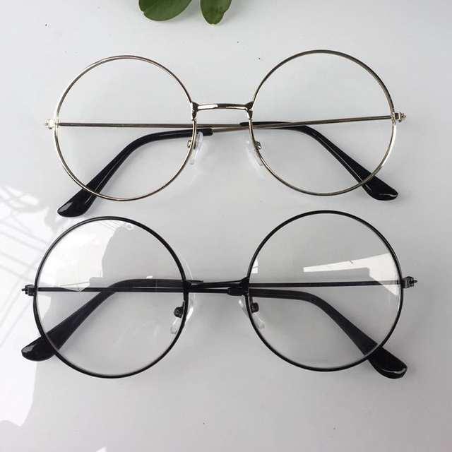 8a17312b23 Online Shop 2018 New man Woman Retro Large Round Glasses Transparent Metal  eyeglass frame Black Silver Gold spectacles Eyeglasses 3 Colors