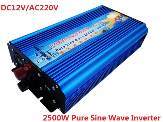 digital display pure Sine Wave Inverter rated power 2500W surge power 5000W 12V/24V DC To 110V/220V AC for home free shipping