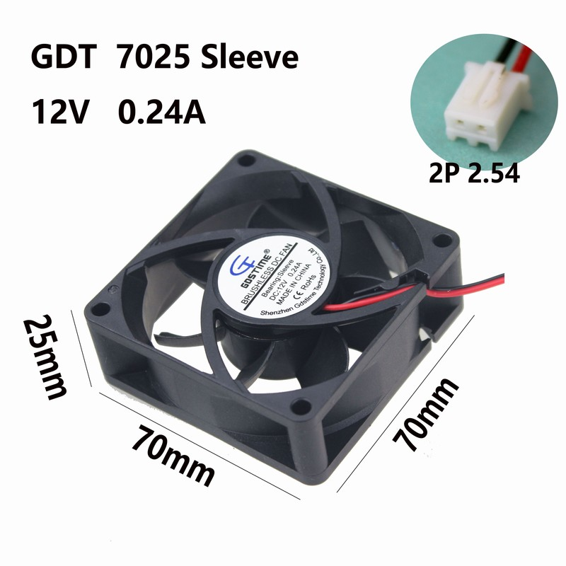 Gdstime 2pcs 2 Pins DC 12V 70mm 7cm 70x70mm x 25mm PC Computer CPU Fan Cooler Cooling Heatsink Exhaust Blower gdstime 10 pcs dc 12v 14025 pc case cooling fan 140mm x 25mm 14cm 2 wire 2pin connector computer 140x140x25mm