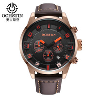 Mens Watches Top Brand Luxury OCHSTIN Fashion Large Dial Casual Sport Watches Leather Waterproof Watches Dropshipping