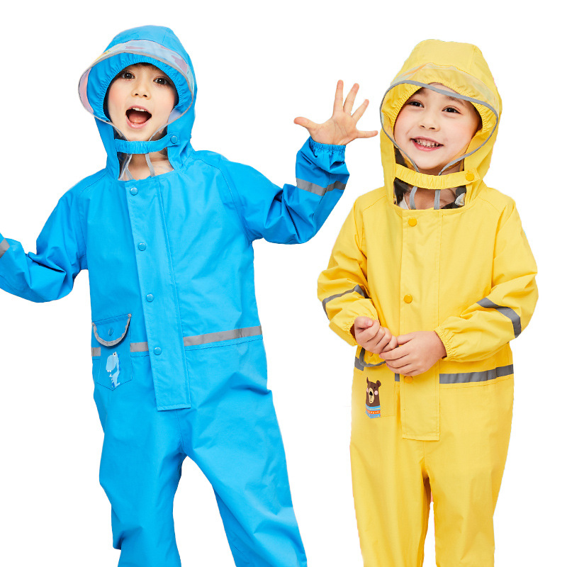 2-8 Years Old Children Raincoat Kids Waterproof Jumpsuit Boys Girls One-Piece Cartoon Hooded Raincoat Suit Thickening Rainwear