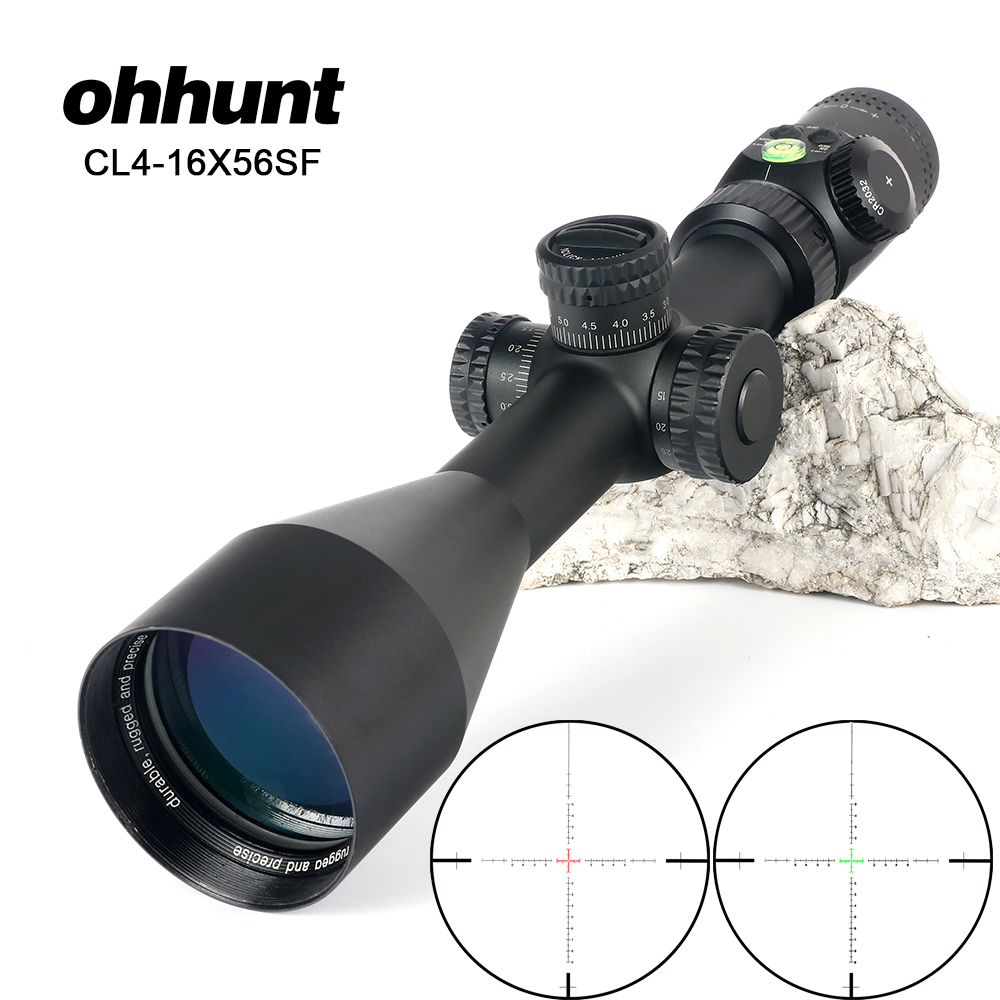 ohhunt CL 4-16X56 SF Hunting Optical Sights Red Green Illuminated Glass Etched Reticle Riflescope Side Parallax Tactical Scope ohhunt hl 3 12x44 sf hunting riflescope glass etched reticle rgb illuminated rifle scope side parallax tactical optics sight