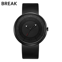 แบ่งด้านบนผู้ชายผู้หญิงU Nisexแฟชั่นลำลองกีฬาควอตซ์นาฬิกาข้อมือสร้างสรรค์นาฬิกาสายยางสีดำก...