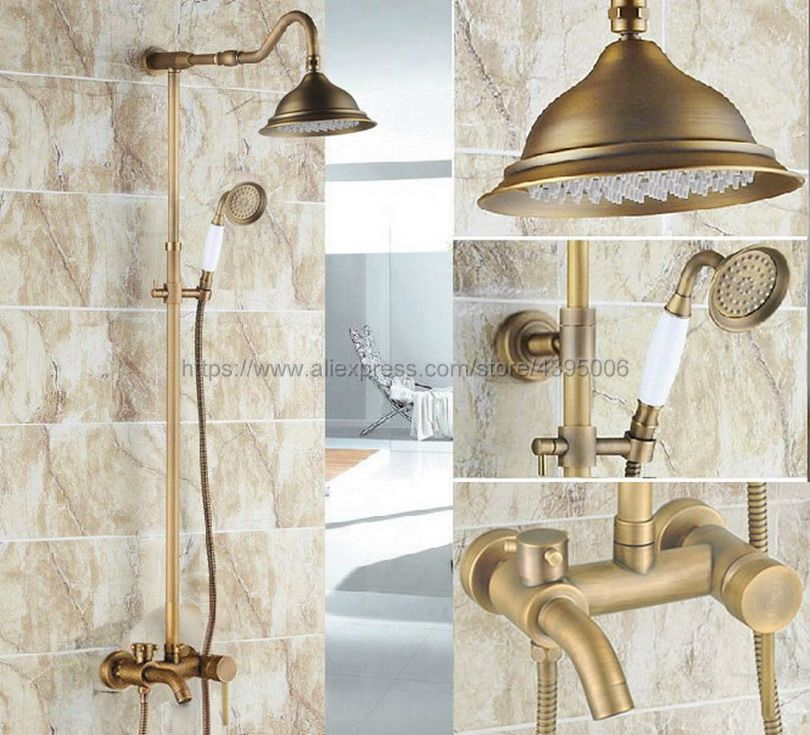 Antique Brass Rainfall Shower Set Faucet + Tub Mixer Tap + Handheld Shower Spray Wall Mounted Brs222 dofaso creative design brass rainfall grohe shower faucet with handshower wall mounted golden tub faucet shower mixer tap