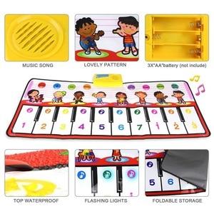 Image 5 - 100x40cm פסנתר צעצועים מוסיקלי לשחק מחצלת עם 8 מכשיר קול & אחד מפתח אחד הערה & לשחק בחזרה פונקצית תינוק לשחק שטיח חג המולד צעצועים