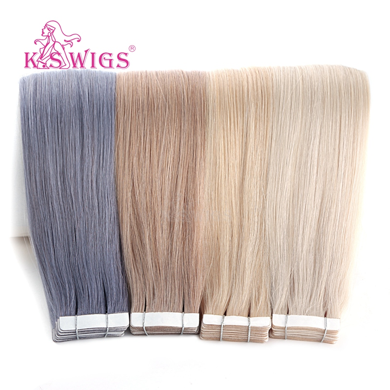 K.S WIGS Straight Double Drawn Tape In Remy Human Hair Skin Weft Human Hair Extensions 16'' 20'' 24''