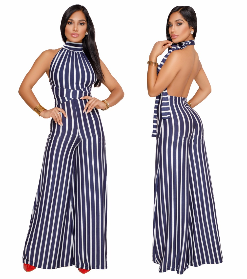 Halter Lace Up Backless Striped Print Club Rompers Sleeveless High Waist One Piece Wide Leg Jumpsuits Plus Size Jumpsuit Women ...
