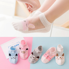 5 Pair=10PCS/lot Cut Dot Kids Socks Summer Thin Comfortable Breathable Cotton Fa