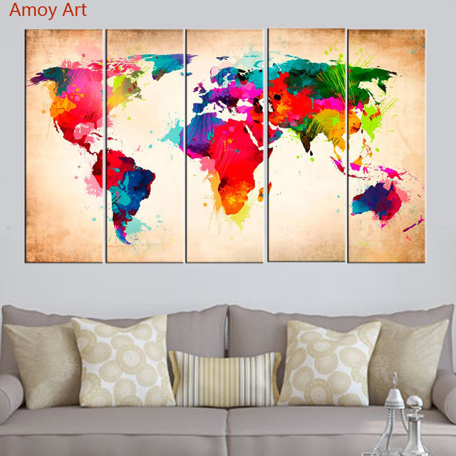 Colorful World Map Art.Unframed 5 Panel Colorful World Map Modern Abstract Wall Art Picture