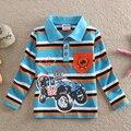 Neat al por mayor nuevo 2016 del bebé lindo de los niños camisa del muchacho de impresión raya coche niños clothing camisa larga de algodón boy desgaste l862 #