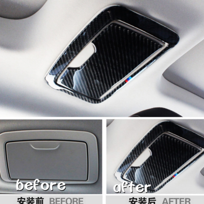 2pieces Carbon Fiber Sticker font b Car b font Inner Rear Roof Make Up font b