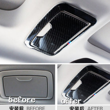 2pieces Carbon Fiber Sticker Car Inner Rear Roof Make Up Mirror Frame Cover Trim Car Styling For BMW 5 Series