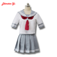 Japanese Anime Love Live Sunshine Cosplay Costume Takami Chika Girls Sailor Uniforms Love Live Aqours