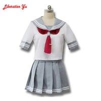 Japanese Anime Love Live Sunshine Cosplay Costume Takami Chika Girls Sailor Uniforms Love Live Aqours