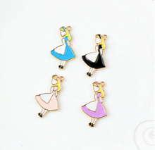 10pcs/lot Gold color 19*32mm Enamel Girl Charm ,Metal Colorful Alice Wonderland Theme Charms Pendant For DIY Jewelry Making