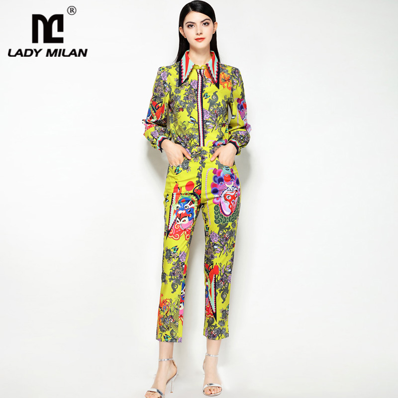 2018 Womens Turn Down Collar Long Sleeves Printed Shirts with Side Pockets Pants Fashion Designer Two Piece Twinsets Sets