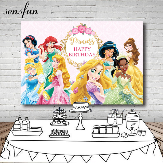Sensfun Cartoon Princess Photography Backdrop Pink Flower Gold Frame Girls Birthday Party Backgrounds For Photo Studio 7x5FT