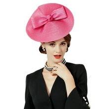 FS tocados bodas sombreros Rosa arco Pillbox sombrero para las mujeres  verano Fedora Vintage señoras Sinamay a4a3ddaf36e
