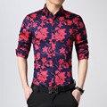 Slim fit hombres camisas hawaianas floral camisa de los hombres camisa de marca casual 2016 M-5XL camisa manga larga para hombre camisas de vestir de moda homme